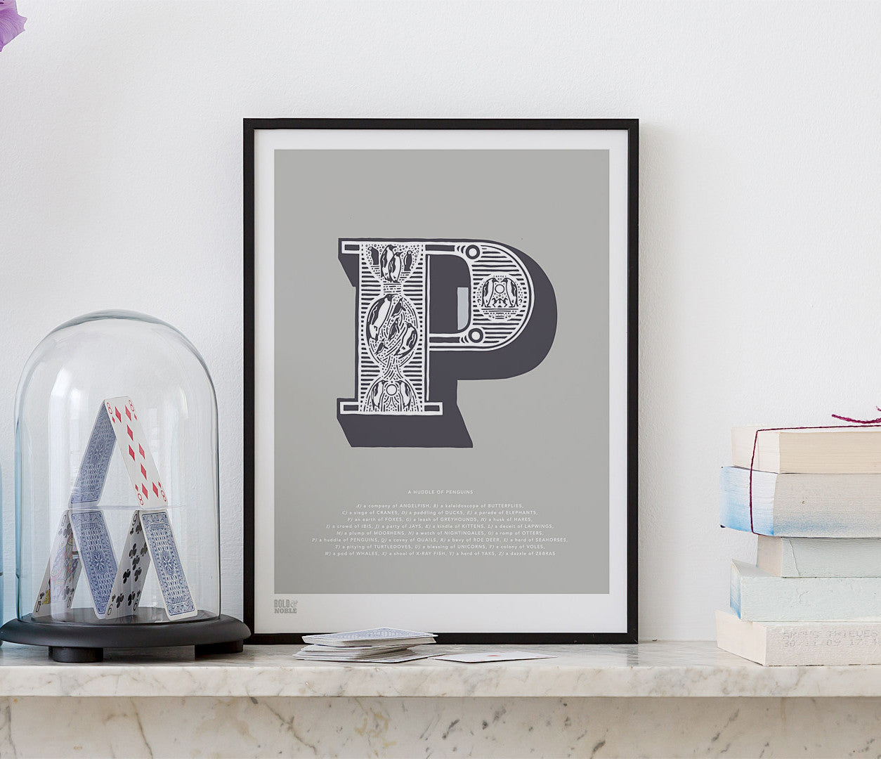'Letter P' Illustrated Art Print in Putty