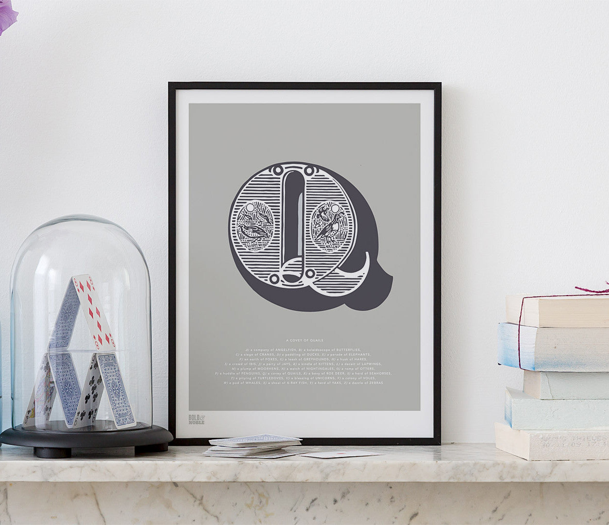 Pictures and Wall Art, Screen Printed Illustrated Letter Q design in putty grey