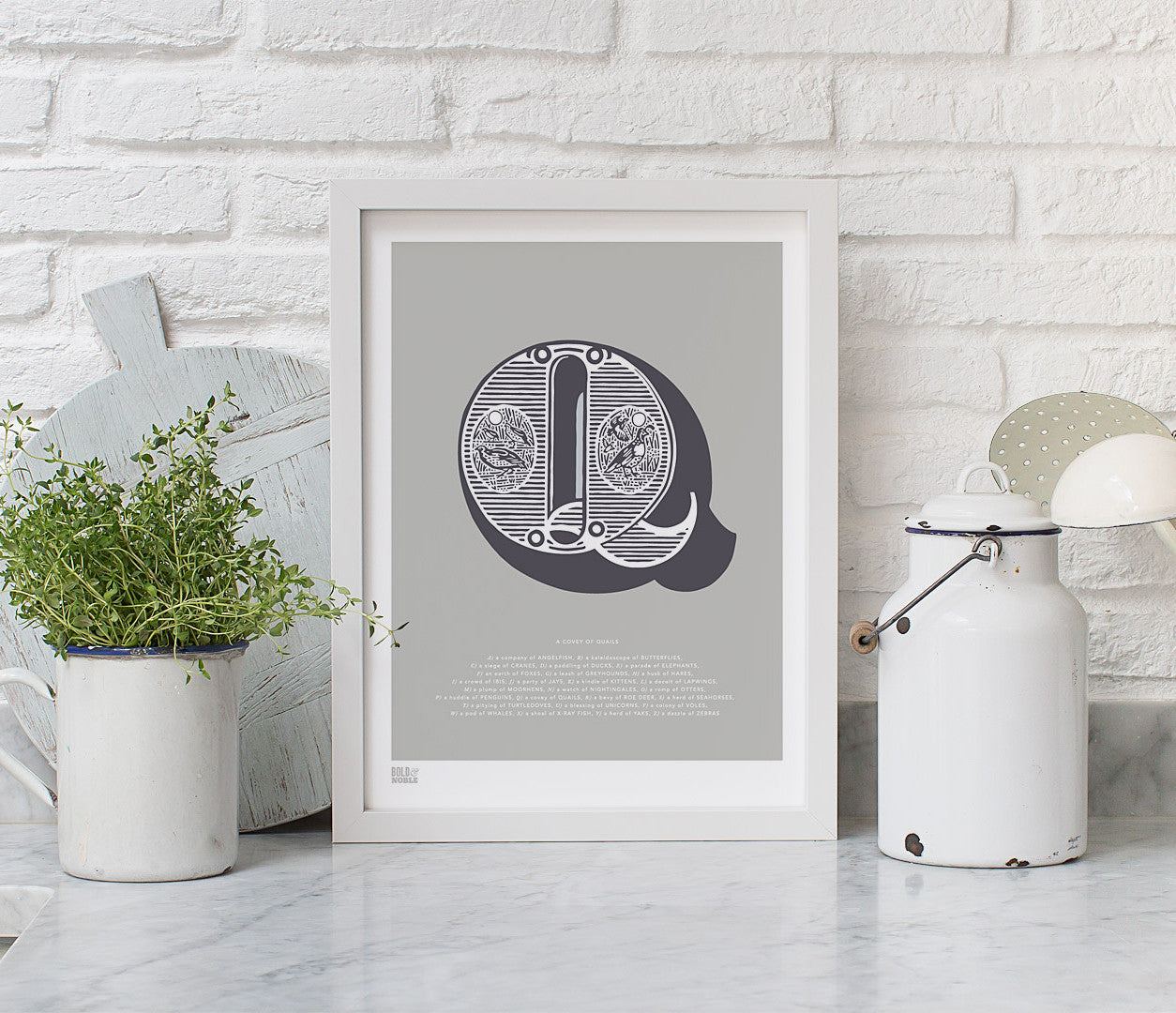 Wall Art Ideas: Economical Screen Prints, Illustrated Letter Q printed in putty grey