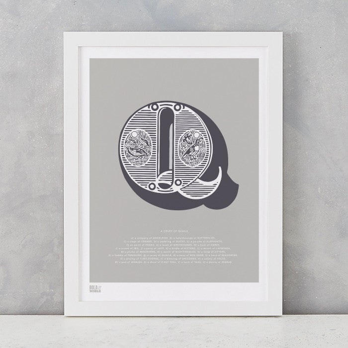 Illustrated Letter Q in putty grey, screen printed on recycled card, deliver worldwide