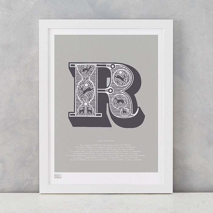 Illustrated Letter R in putty grey, screen printed on recycled card, deliver worldwide