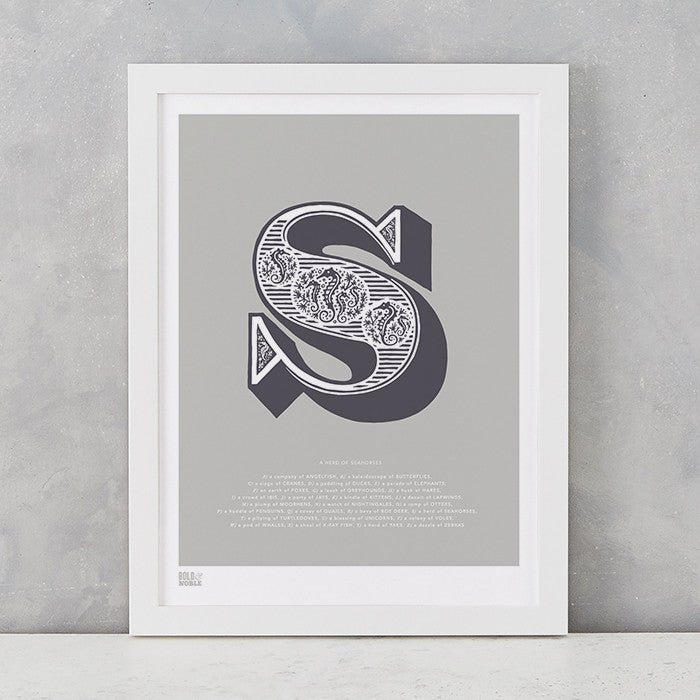Illustrated Letter S in putty grey, screen printed on recycled card, deliver worldwide