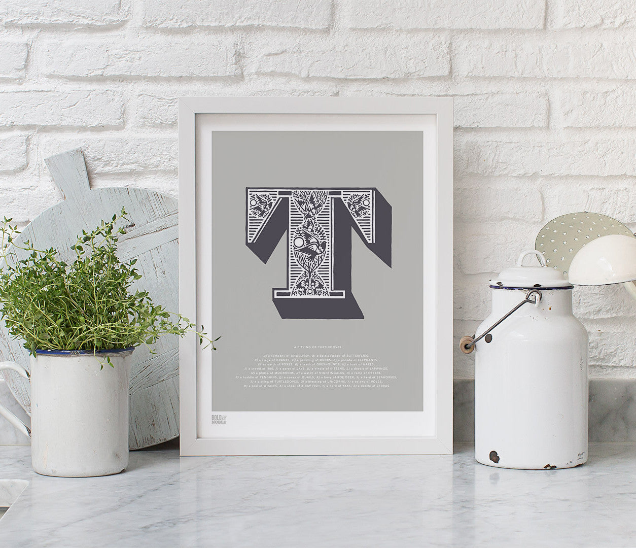 Wall Art Ideas: Economical Screen Prints, Illustrated Letter T printed in putty grey