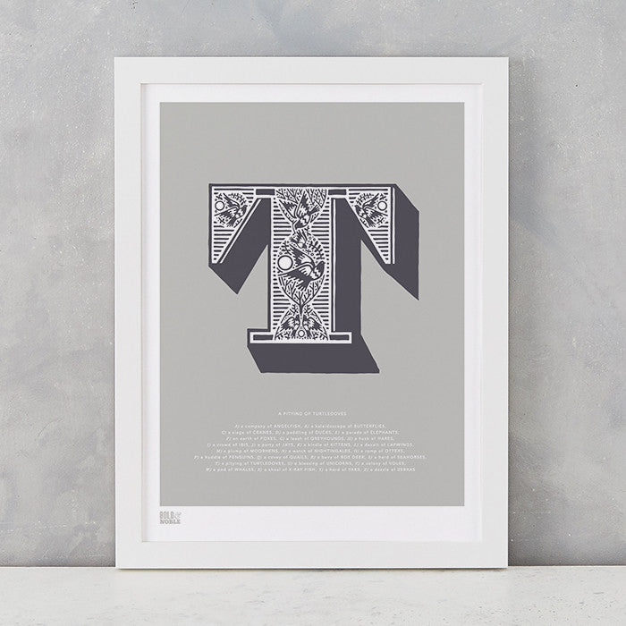 Illustrated Letter T in putty grey, screen printed on recycled card, deliver worldwide