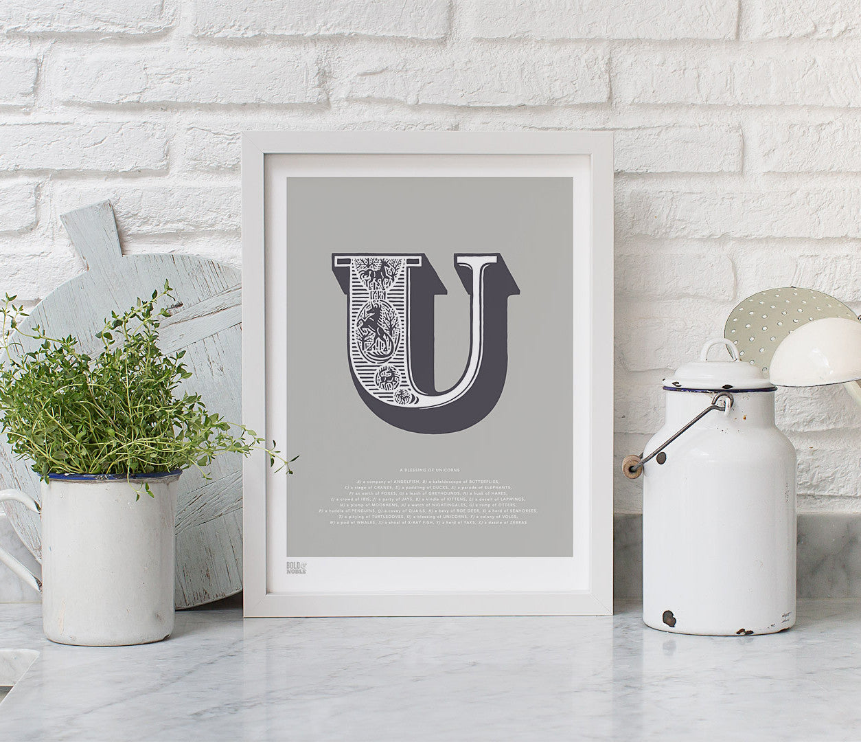 Wall Art Ideas: Economical Screen Prints, Illustrated Letter U printed in putty grey