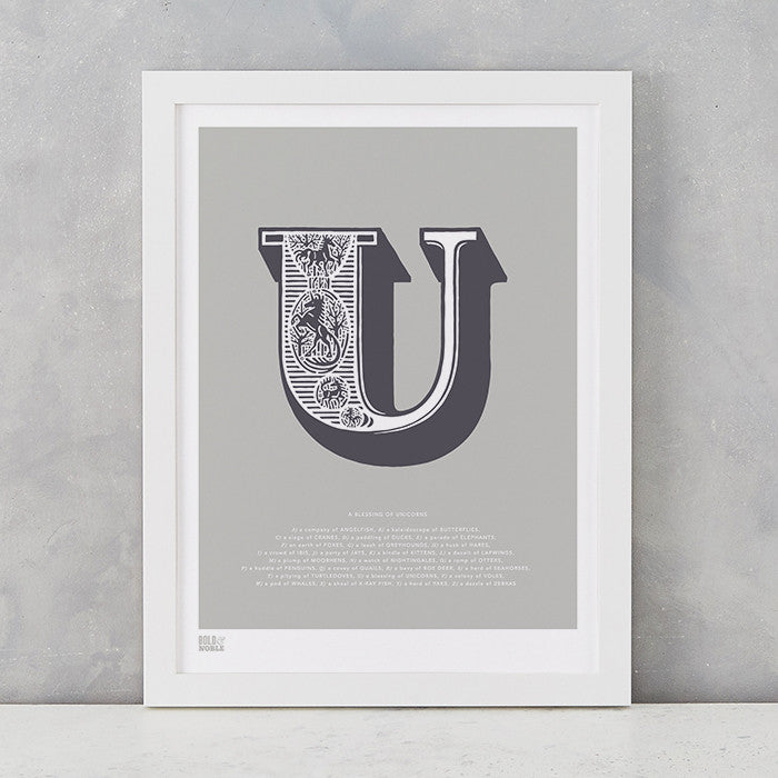 Illustrated Letter U in putty grey, screen printed on recycled card, deliver worldwide