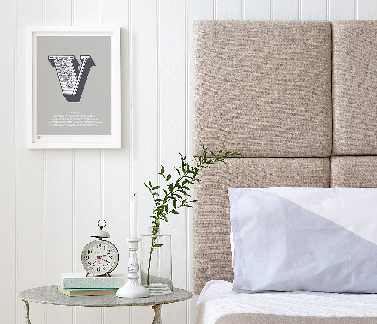 Pictures and Wall Art, Screen Printed Illustrated Letter V design in putty grey