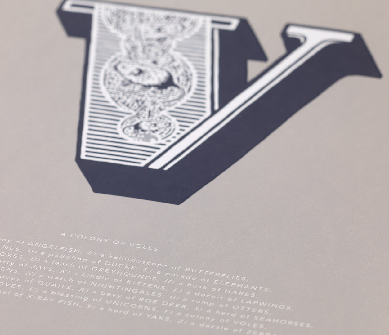 Close up of Illustrated Letter V in putty grey