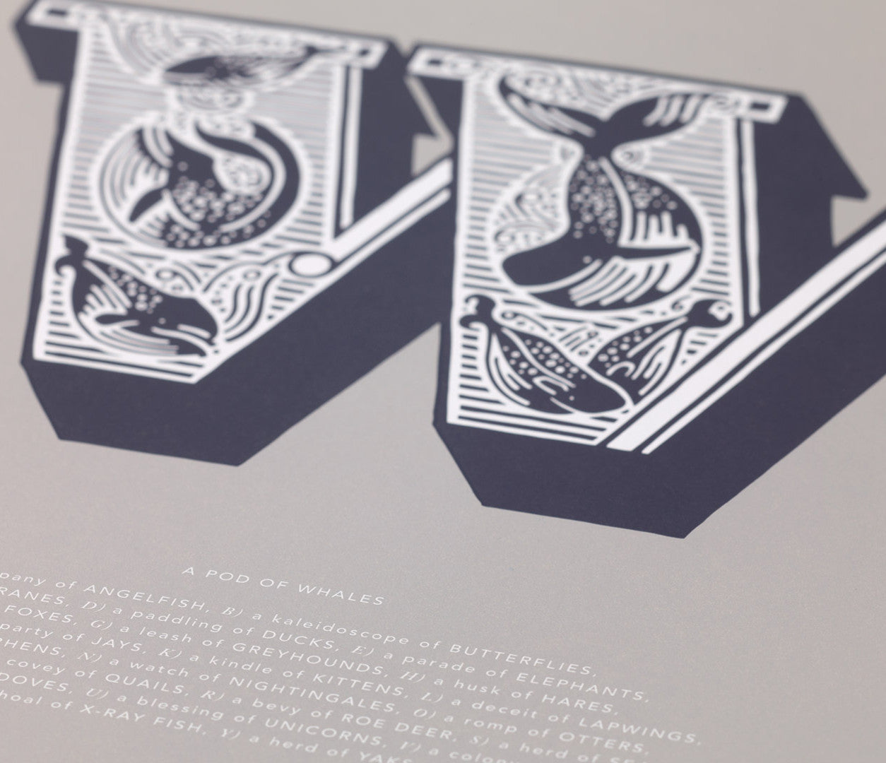 Close up of Illustrated Letter W in putty grey
