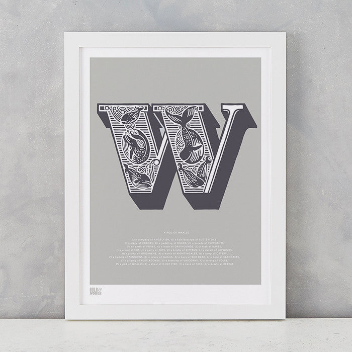 Illustrated Letter W in putty grey, screen printed on recycled card, deliver worldwide