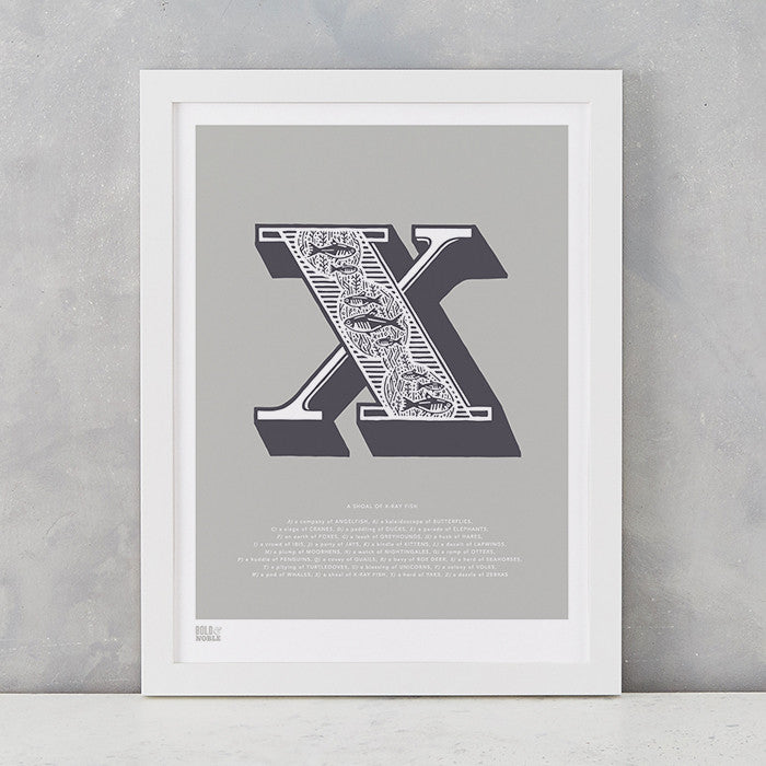 Illustrated Letter X in putty grey, screen printed on recycled card, deliver worldwide