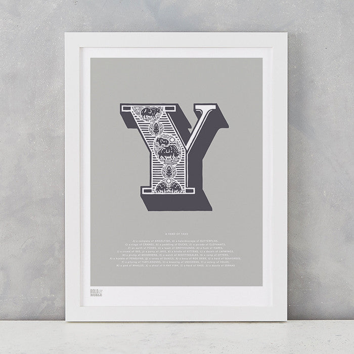 Illustrated Letter Y in putty grey, screen printed on recycled card, deliver worldwide