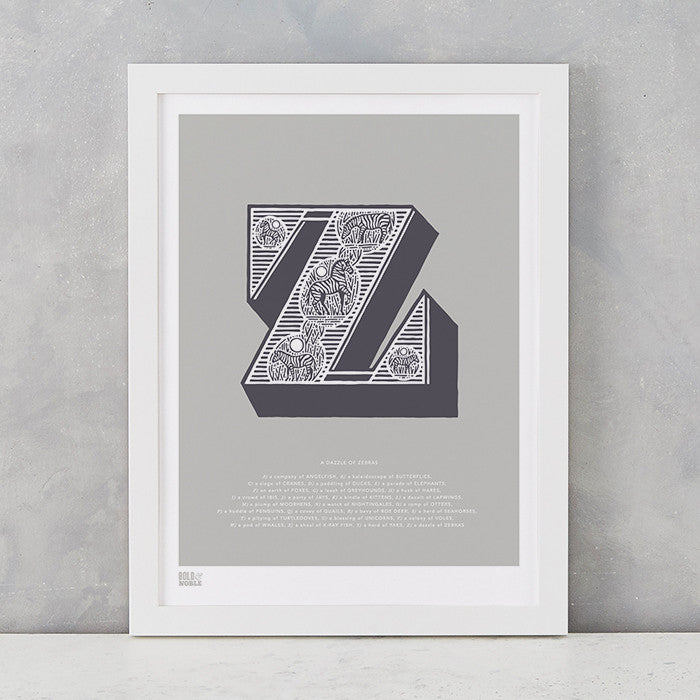 Illustrated Letter Z in putty grey, screen printed on recycled card, deliver worldwide