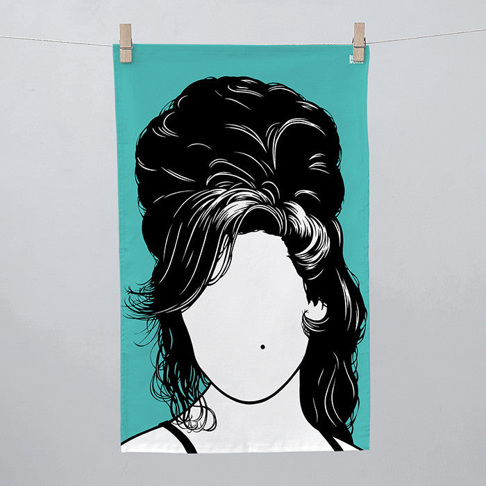Amy Winehouse Tea Towel, in Jade Green, Screen Printed made in the UK