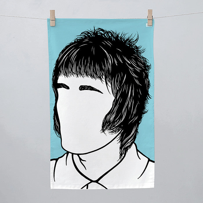 Liam Gallagher Oasis Tea Towel in Blue, screen printed 100% cotton, deliver worldwide