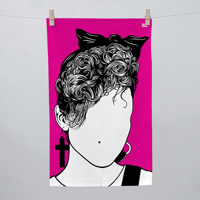Madonna Tea Towel in Pink, screen printed in the UK