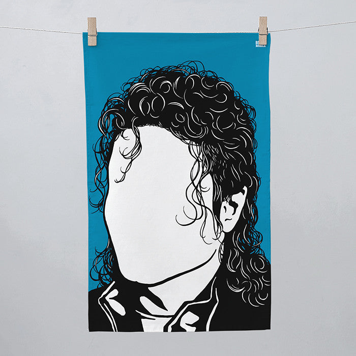 Michael Jackson Tea Towel in Blue, screen printed in the UK