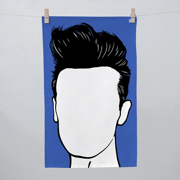 Morrissey Tea Towel in Blue, screen printed in the UK