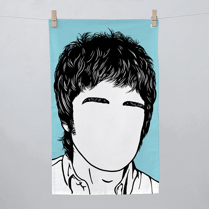 Noel Gallagher Tea Towel in blue