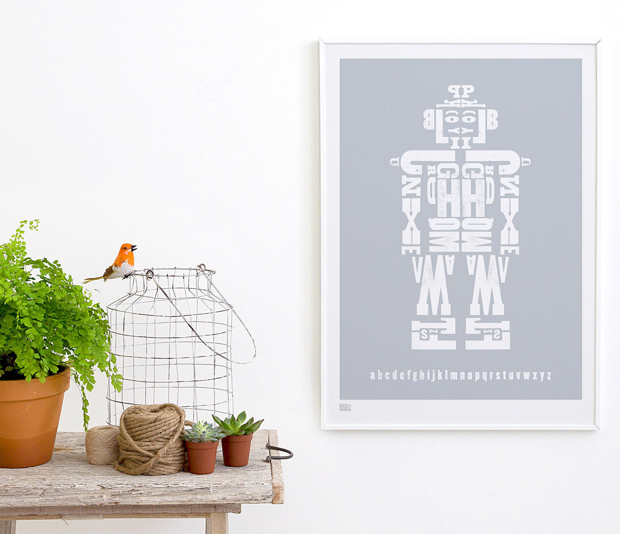 Wall art ideas, economical screen prints, illustrated robot poster in silver