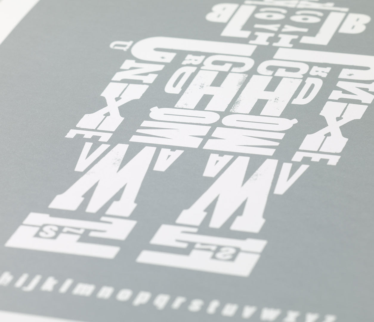 Close up of Robot screen print in silver