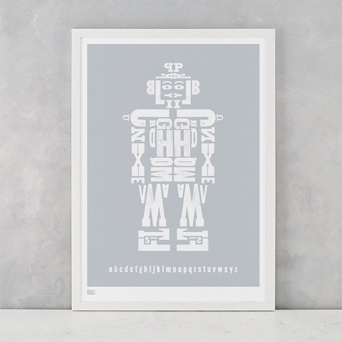 Illustrated Robot Screen Print in silver, delivered worldwide
