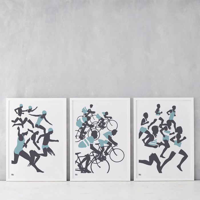 Triathlon Set of 3 Wall Posters, Screen Printed in the UK, deliver worldwide