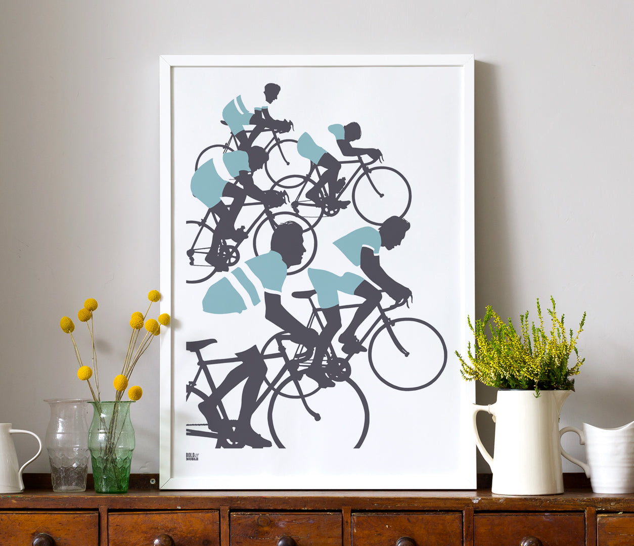 Triathlon, Cycling Wall Poster for the Home in Blue and Grey