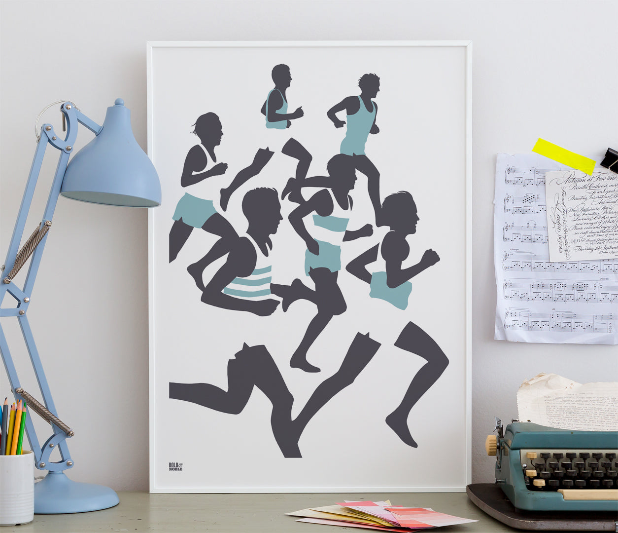 Triathlon, Running Wall Art Poster in Blue and Grey