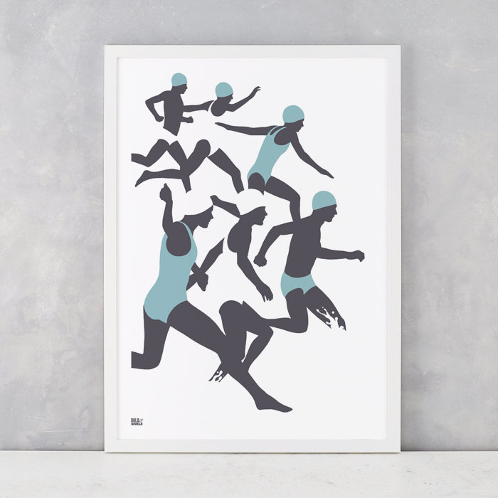 'The Swimmers' Illustrated Art Print in Coastal Blue