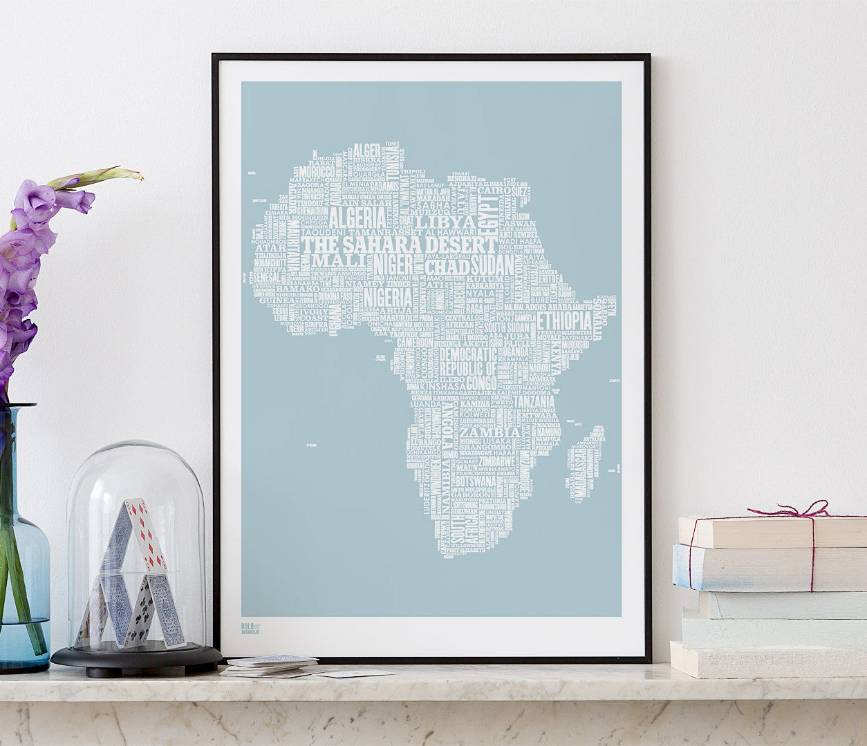 Wordle Africa Map Wall Art Print, Screen Printed in duck egg blue