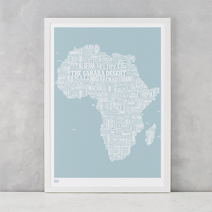 Africa Type Map in duck egg blue, screen printed on recycled card, delivered worldwide