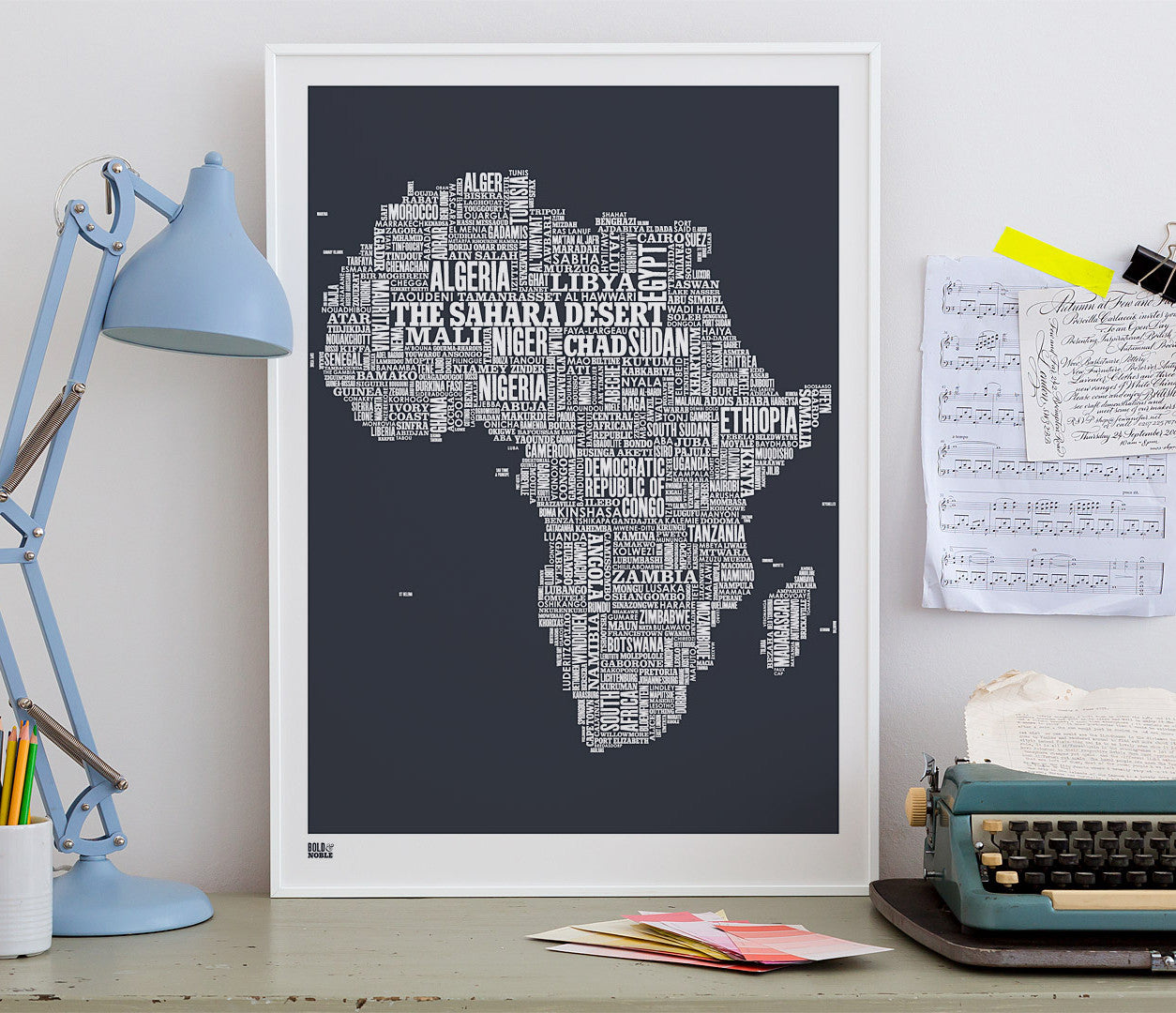 Wordle Africa Map Wall Art Print, Screen Printed in sheer slate