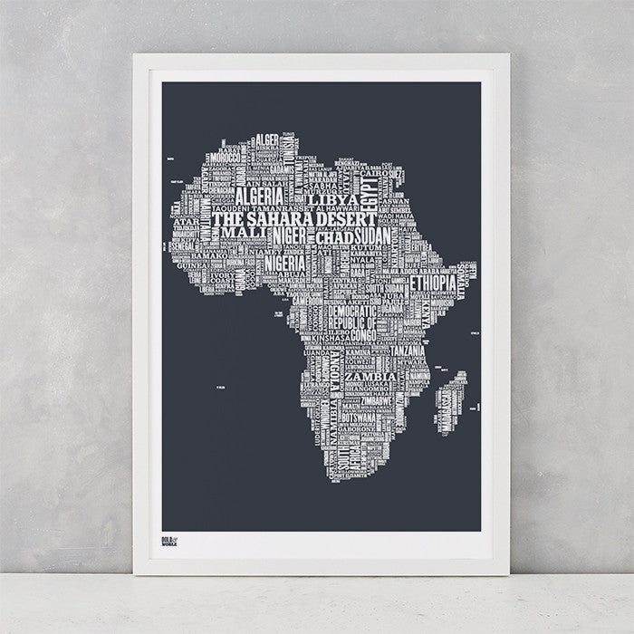 Africa Type Map in sheer slate, screen printed on recycled card, delivered worldwide