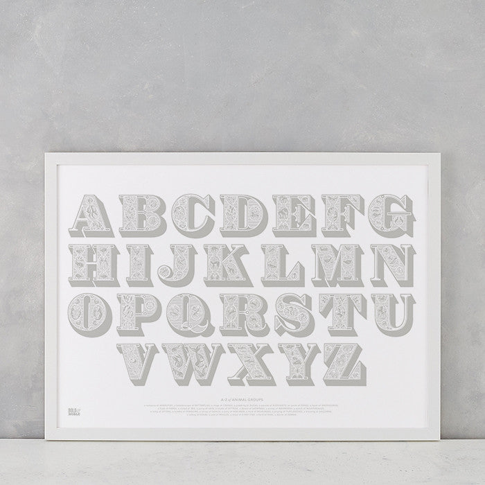 Illustrated Alphabet Screen Print in Putty Grey, delivered worldwide