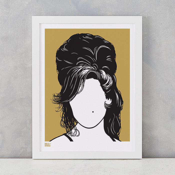 Bronze Amy Winehouse Screen Printed Wall Art on recycled card, delivered worldwide