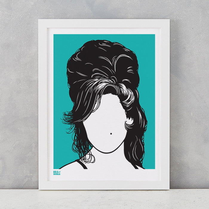 'Amy Winehouse' Art Print in Bright Jade