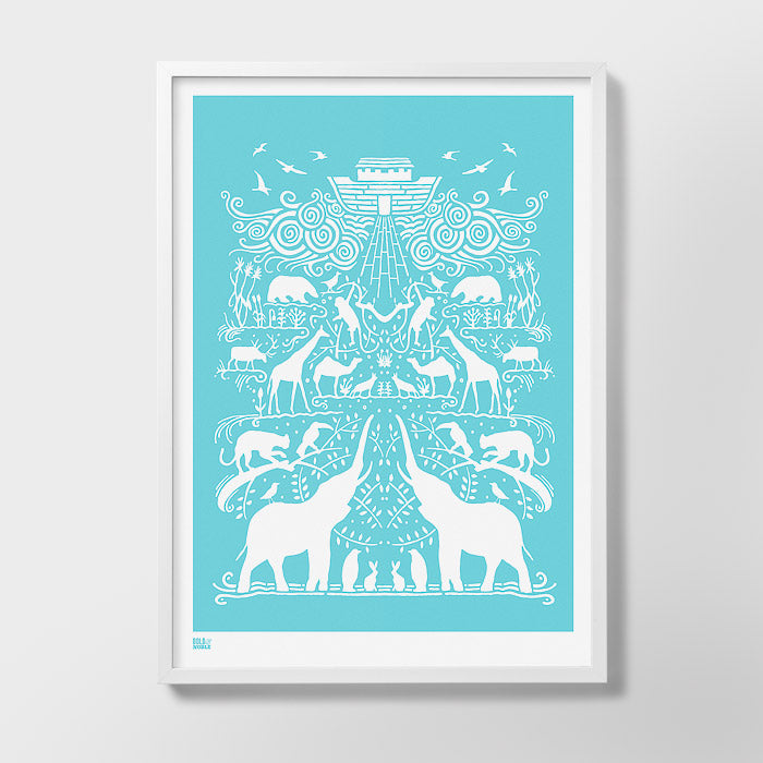 'Noah's Ark' Art Print in Azure Blue