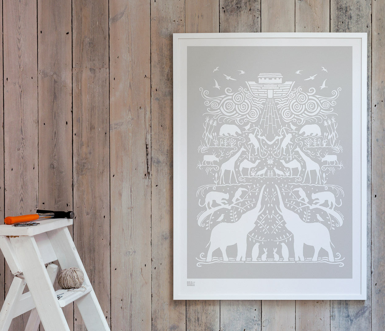 Pictures and Wall Art, Screen Printed Noah's Ark in Chalk Grey