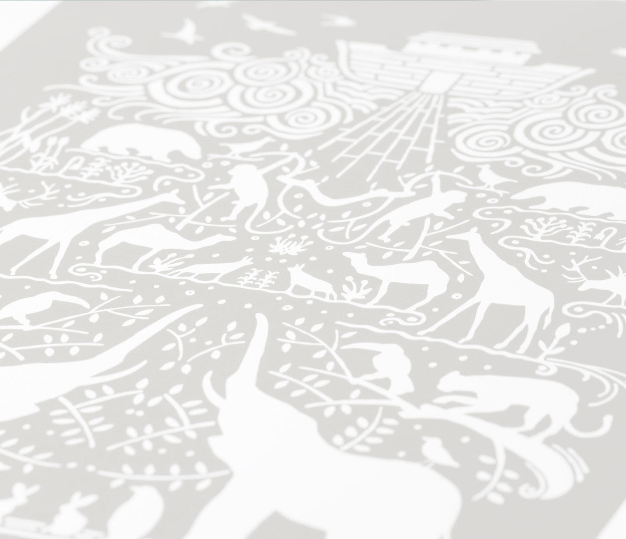 Close Up of Noah's Ark Screen Print in Chalk Grey
