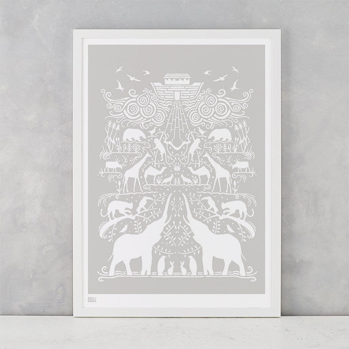 Noah's Ark Print in Chalk Grey, screen printed on recycled card, deliver worldwide