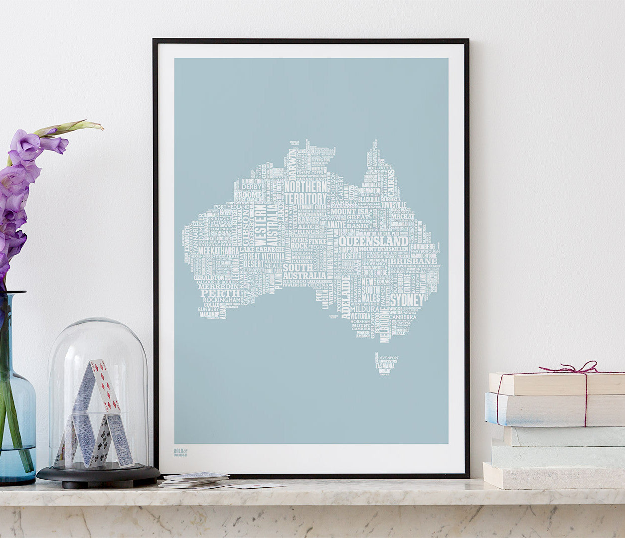 Wall art ideas, economical screen prints, Australia type map in duck egg blue