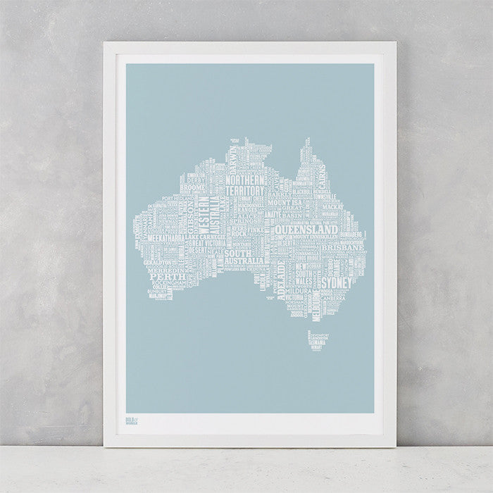Australia Type Map in duck egg blue, screen printed on recycled card, delivered worldwide
