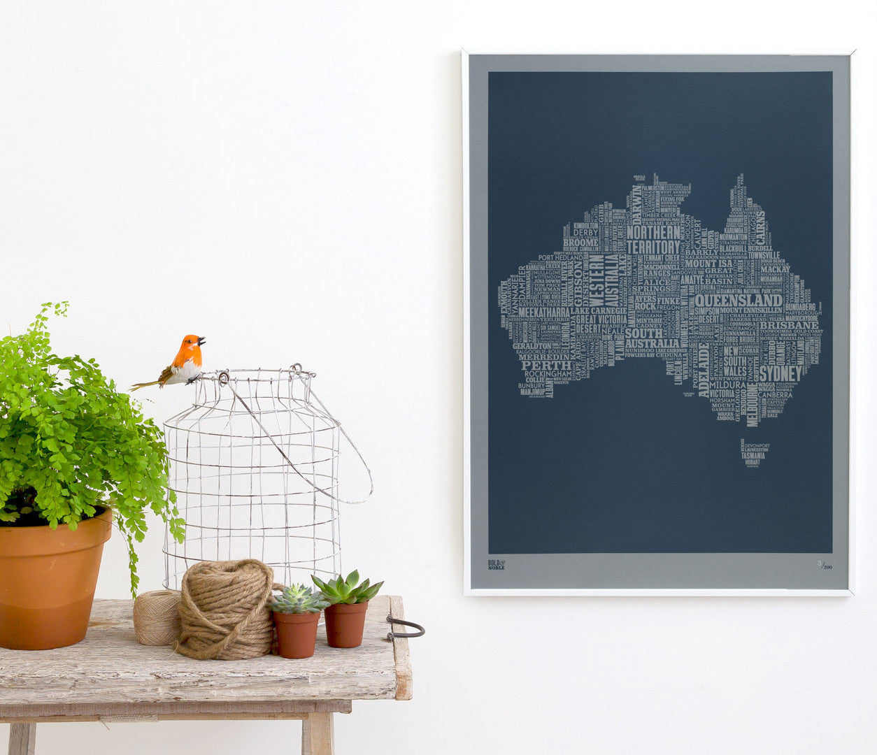 Wall art ideas, economical screen prints, Australia type map limited edition in grey