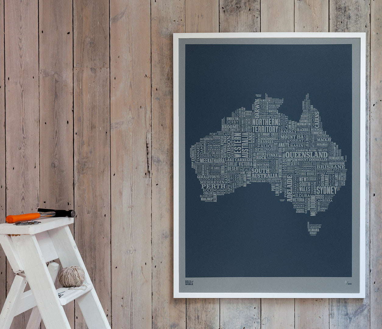 Wordle Australia Map Wall Art Print, Screen Printed limited edition artwork