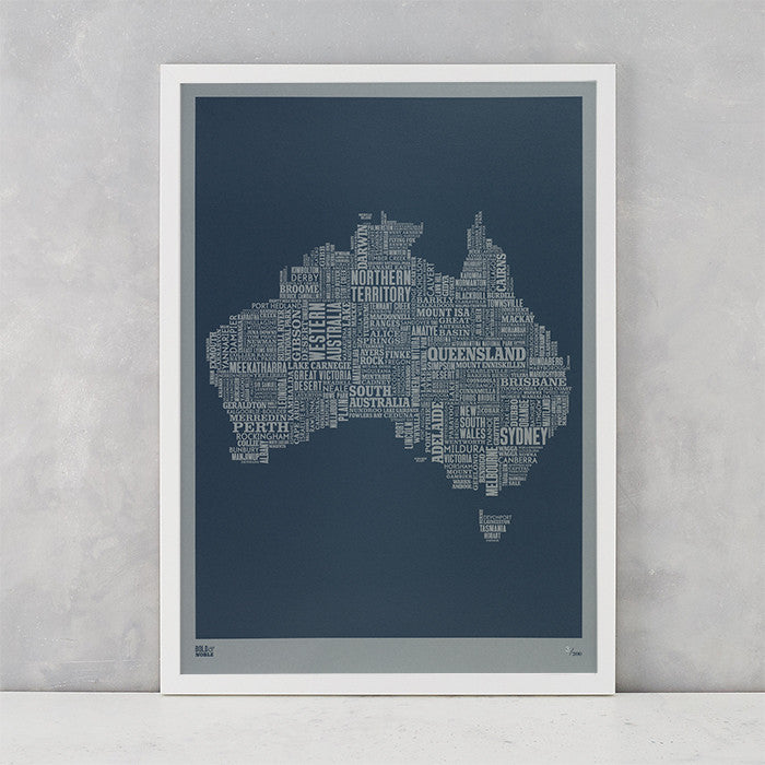 Australia Type Map screen print in slate grey on grey card, limited edition print, delivered worldwide