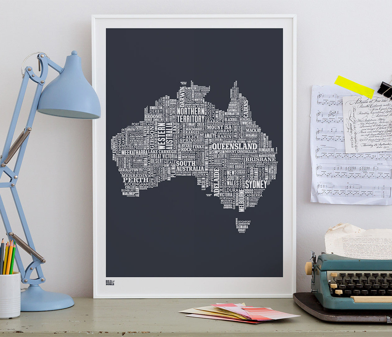 Wall art ideas, economical screen prints, Australia type map in sheer slate