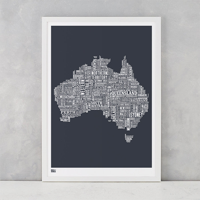 Australia Type Map in sheer slate, screen printed on recycled card, delivered worldwide