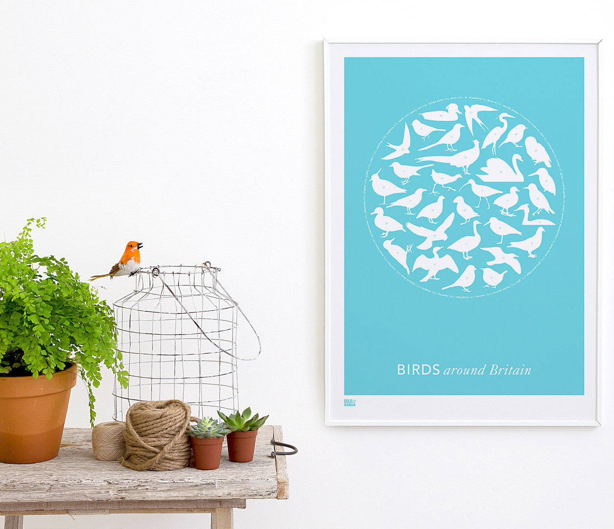 Pictures and wall art, screen printed Birds Around Britain poster in azure blue