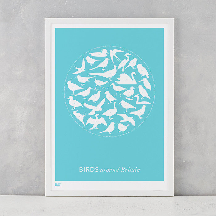 Birds around Britain in azure blue, screen printed in the UK delivered worldwide
